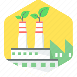 eco, ecology, environment, factory, green icon