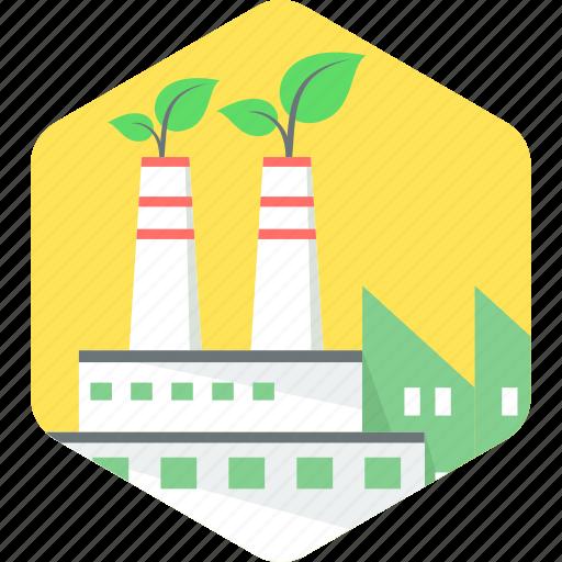 eco, ecology, environment, factory, green icon