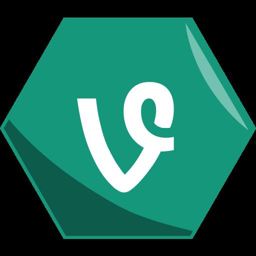 hexagon, media, networking, social, video, vine, vines icon