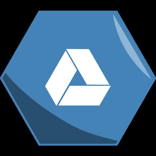 drive, google, hexagon, social icon