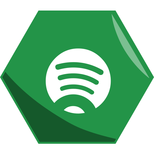 hexagon, music, networking, social, spotify icon