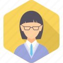 account, avatar, employee, face, manager, user, woman icon