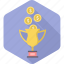 achievement, best, consolation, fund, funds, prize, win icon