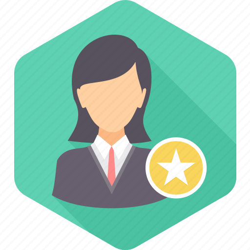 achievement, employee, favorite, female, rate, rating, star icon