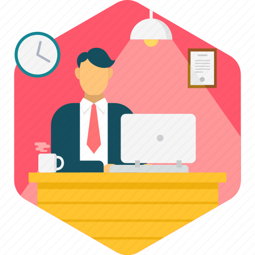 business, busy, desk, occupied, office, work, working icon