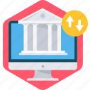 bank, banking, commerce, financial, institution, online icon