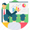 analytics, business, conference, meeting, presentation, review, training icon