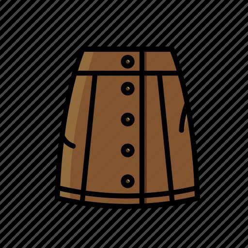 brown, denim, skirt icon