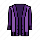 cardigan, purple, robe icon