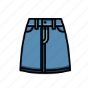 denim, festival, skirt icon