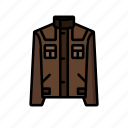 brown, coat, dogwalk, jacket, leather, pocket, woodlands icon