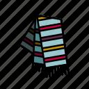 colourful, scarf, stripes, stripy, tassel icon