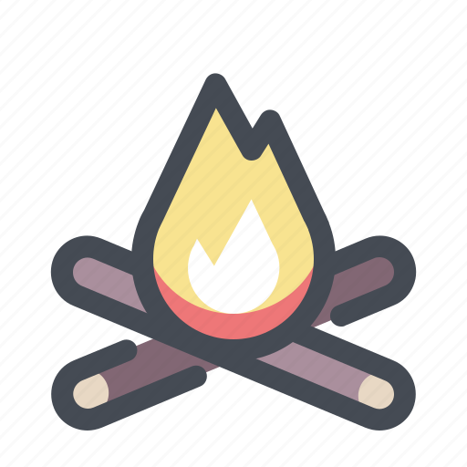 bonfire, camp, campfire, camping, fire, flame, hiking icon