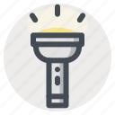 camping, flashlight, hiking, idea, lamp, light, travel icon