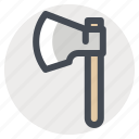 ax, axe, hatchet, hiking, lumberer, lumberjack, lumberman, parks icon