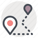 hiking, location, map, path, pin, road, way icon