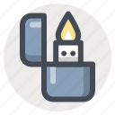 camping, fire, flame, hiking, lighter, outdoor, zippo icon