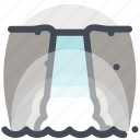 camping, hiking, holiday, tourism, travel, vacation, waterfall icon
