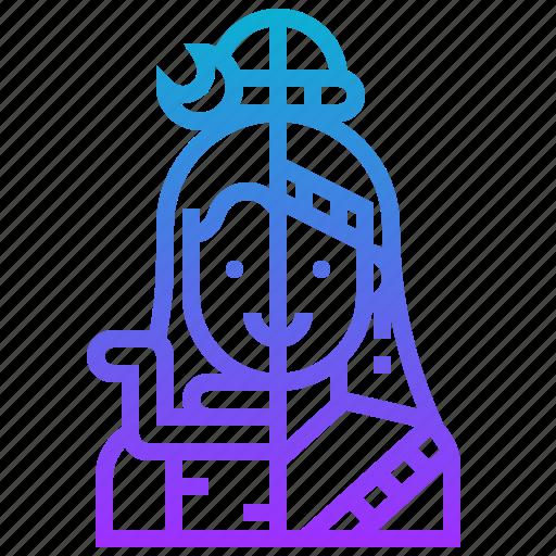 ardhanareeswara, avatar, god, hindu, india, tale icon