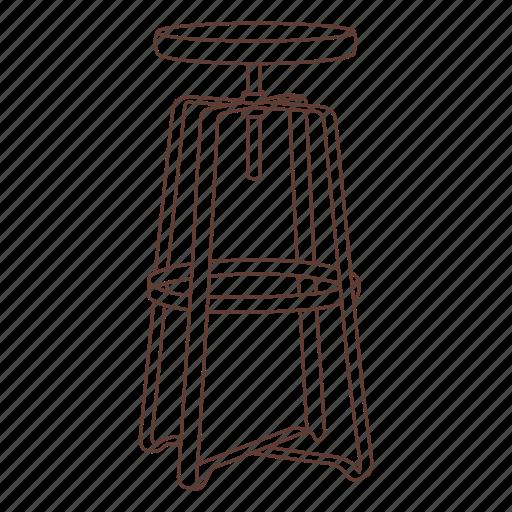 adjustable, bar, cafe, metal, seat, sit, stool icon