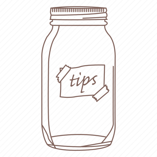 ball jar, cafe, coffee shop, hipster, money, tip jar, waiter icon