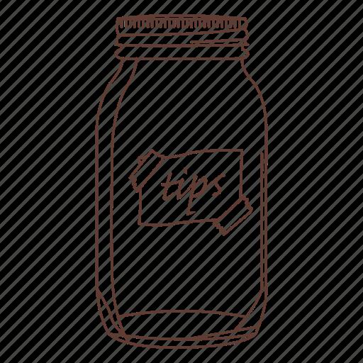 ball jar, jar, money, tip, waiter icon