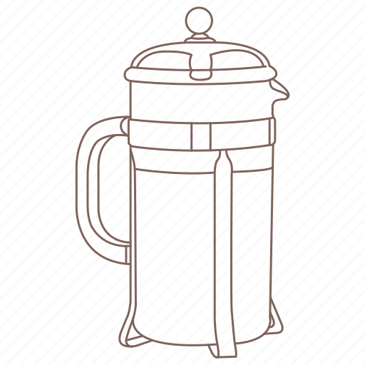 brew, cafe, coffee, drink, french, press icon