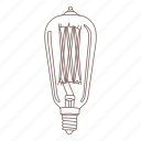 bulb, edison, electric light, glass, light, vintage icon