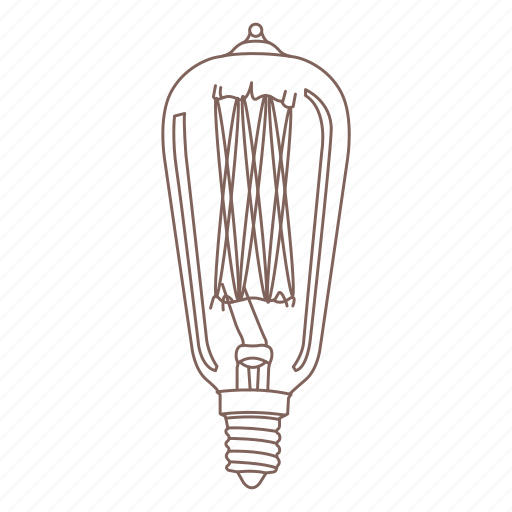 bulb, edison, electric light, glass, light, vintage icon