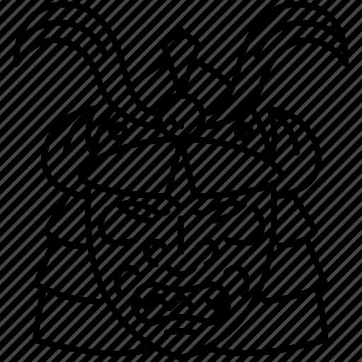 century, face, history, japanese, man, samurai, samurai helmet icon