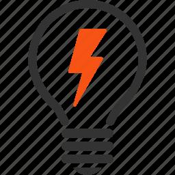 electric, electric bulb, electrical, electricity, energy, power, spark icon
