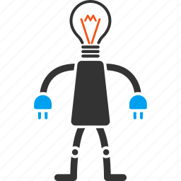electric, electricity, head, lamp, light, robot, technology icon