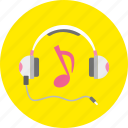 headphones, listening, music, note, player, sound, volume icon