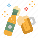 alcohol, beer, bottle, glass, party icon