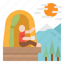 camping, firecamp, forest, tent, travel icon