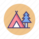 camp, campground, camping, campsite, tent, tentsite icon