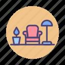 decorating, furniture, interior, interior decoration, interior design icon