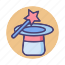 magic, magic hat, magic wand, magical, magician icon