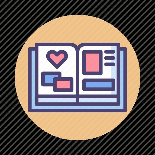 journal, planner, scrapbook, scrapbooking icon