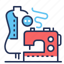 clothes, machine, mannequin, sewing icon