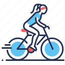 bicycle, cycling, girl, sportive icon