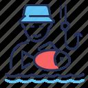 fisherman, fishing, hobby, hook