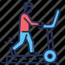 gym, man, running, treadmill