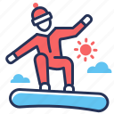 mountain, snowboarding, sport, winter icon