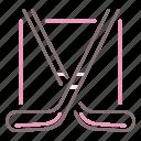 crossed, hockey, sticks icon