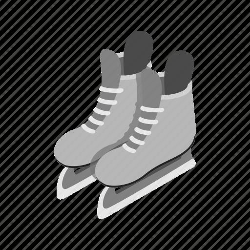 hockey, ice, isometric, male, season, skates, winter icon