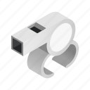 blowing, equipment, isometric, police, referee, sport, whistle icon