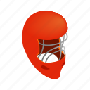goalkeeper, helmet, hockey, ice, isometric, mask, red icon