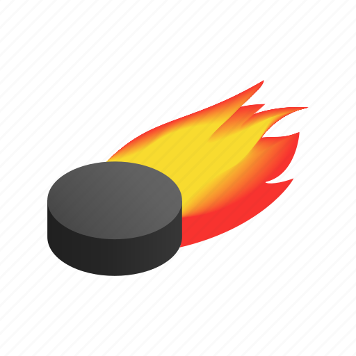 fire, flame, hockey, isometric, puck, sport, team sport icon