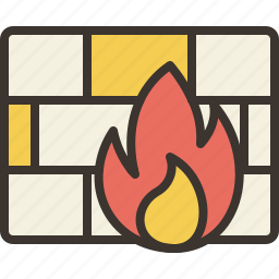 firewall, protection, secure, wall icon